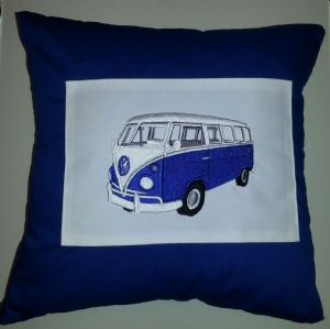 PERSONALISED EMBROIDERED VW CAMPER VAN THEME CUSHION - Blue